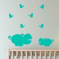 Sticker Hippopotames et papillons