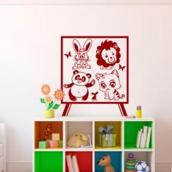 Sticker Caricature d'animaux sur un tableau