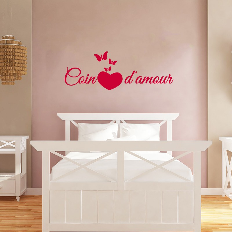 sticker citation chambre coin d 39 amour pas cher stickers citations discount stickers muraux. Black Bedroom Furniture Sets. Home Design Ideas