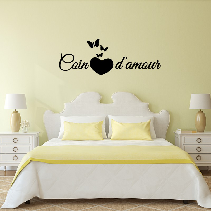 Sticker citation chambre coin d 39 amour pas cher stickers citations discount stickers muraux - Stickers muraux citations chambre ...