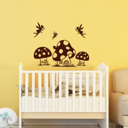 Sticker Fées et maisons en champignons