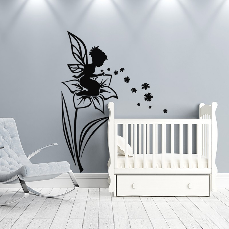 sticker petite f e assise sur la fleur pas cher stickers enfants discount stickers muraux. Black Bedroom Furniture Sets. Home Design Ideas