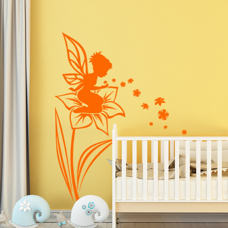 sticker petite f e assise sur la fleur pas cher stickers. Black Bedroom Furniture Sets. Home Design Ideas
