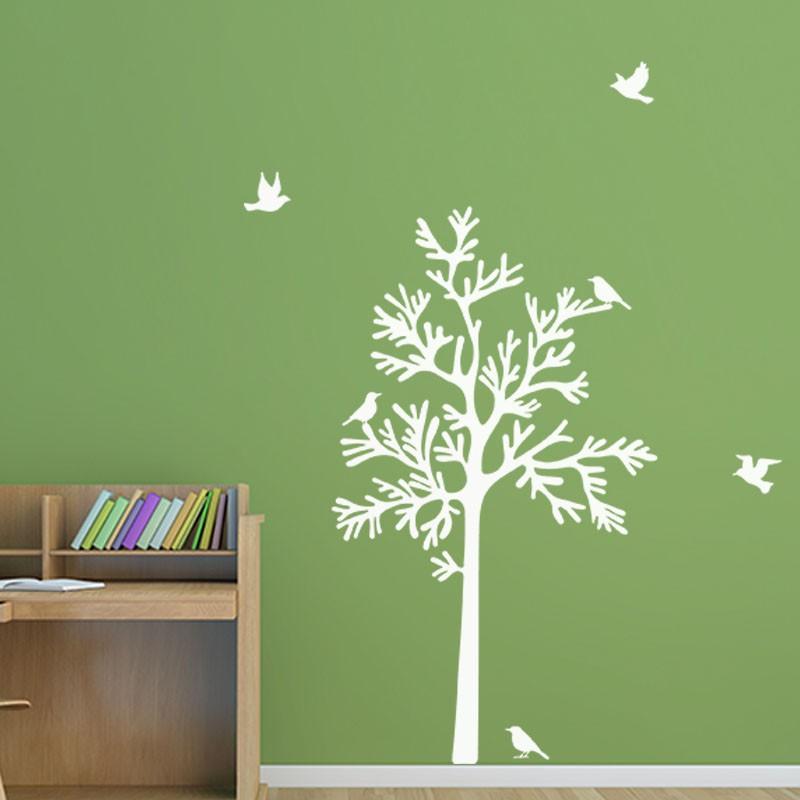 sticker oiseaux autour d 39 un arbre pas cher stickers nature discount stickers muraux madeco. Black Bedroom Furniture Sets. Home Design Ideas