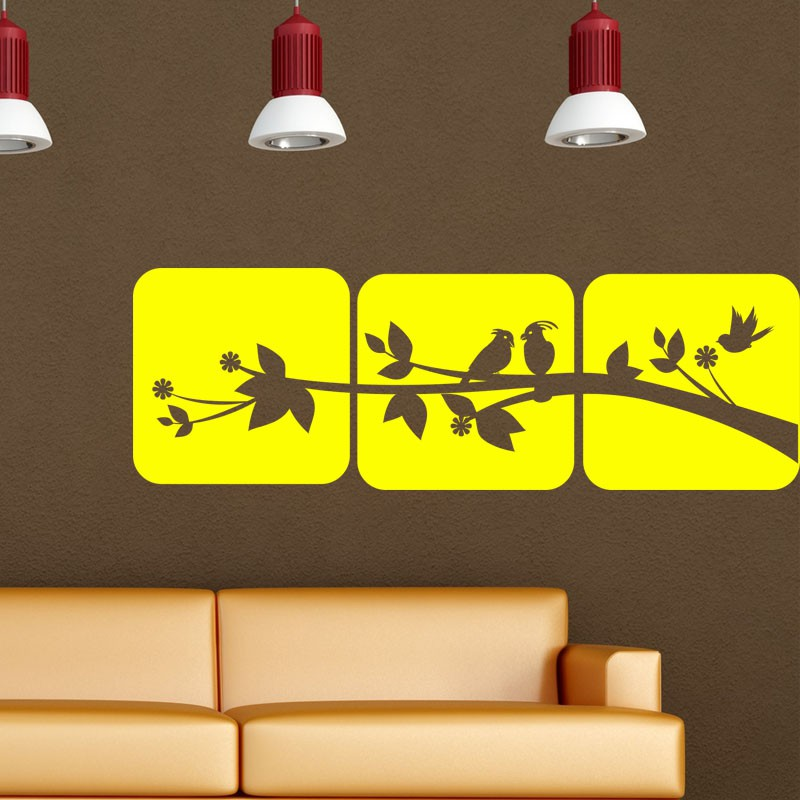 sticker oiseaux sur un arbre pas cher stickers nature discount stickers muraux madeco stickers. Black Bedroom Furniture Sets. Home Design Ideas