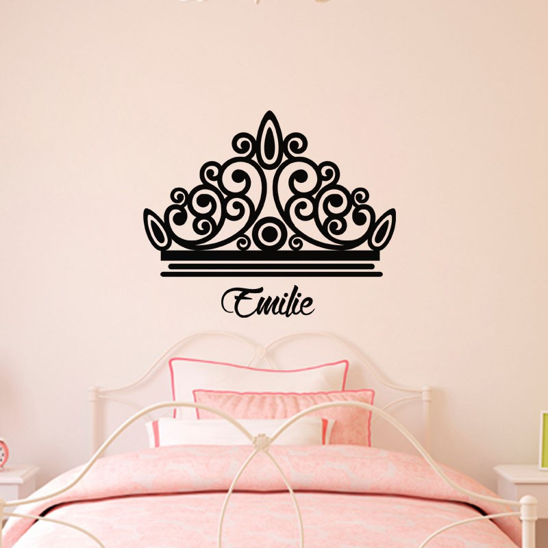sticker pr nom personnalisable couronne pas cher. Black Bedroom Furniture Sets. Home Design Ideas
