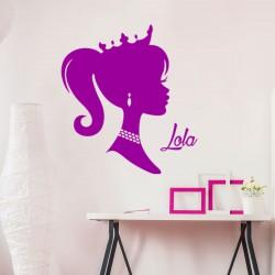 Sticker prénom personnalisable Profil de princesse