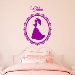Sticker prénom personnalisable Camée d'une princesse