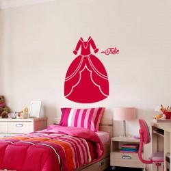 Sticker prénom personnalisable Robe de princesse