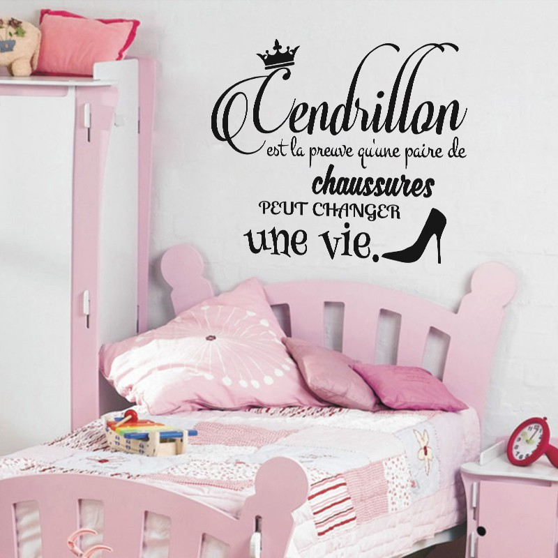 Sticker citation cendrillon pas cher stickers citations for Sticker mural chambre fille