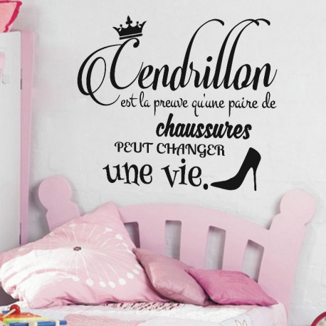 Sticker citation cendrillon pas cher stickers citations discount stickers muraux madeco - Stickers muraux citations chambre ...