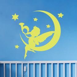 Sticker Ange, lune et étoiles