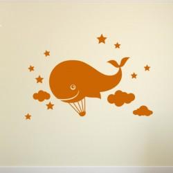 Sticker Montgolfier Baleine et nuages