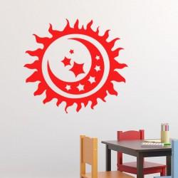Sticker Design lune dans un soleil