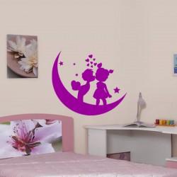 Sticker Enfants amoureux sur la lune