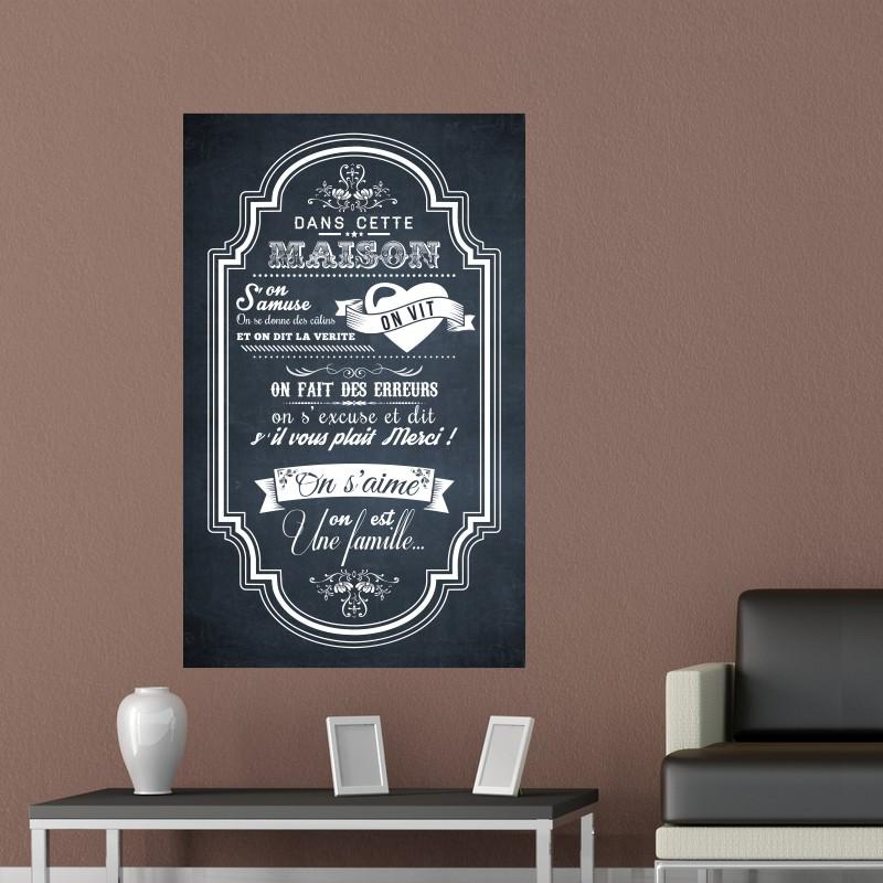sticker poster dans cette maison pas cher stickers. Black Bedroom Furniture Sets. Home Design Ideas