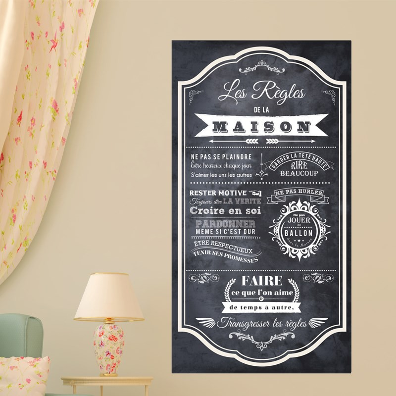 Sticker poster ardoise les r gles de la maison pas cher stickers citations discount stickers - Poster les regles de la maison ...