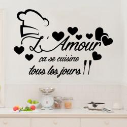 Sticker citation L'amour ça se cuisine