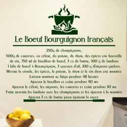 Sticker citation recette Le boeuf Bourguignon français