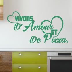 Sticker citation Vivons d'amour et de pizza