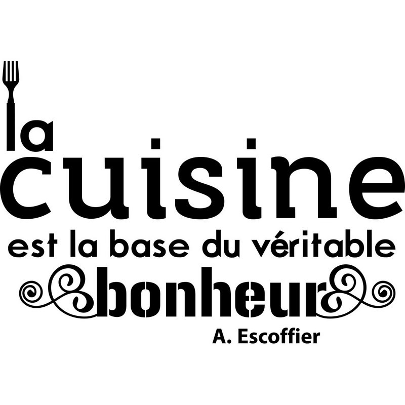sticker citation cuisine de a escoffier pas cher stickers citations discount stickers. Black Bedroom Furniture Sets. Home Design Ideas