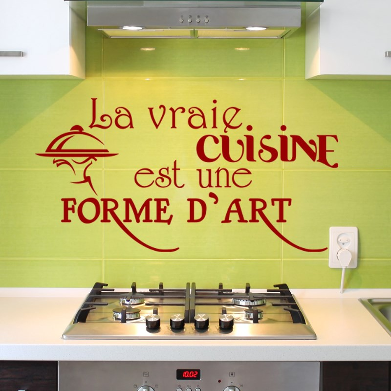 sticker la vraie cuisine est une forme d 39 art pas cher stickers citations discount stickers. Black Bedroom Furniture Sets. Home Design Ideas