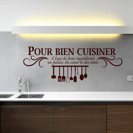 sticker pour bien cuisiner pas cher stickers citations discount stickers muraux madeco. Black Bedroom Furniture Sets. Home Design Ideas