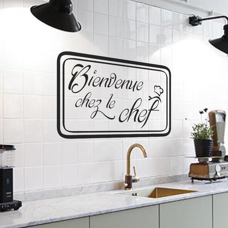 Sticker Cuisine Bienvenu Chez Le Chef Pas Cher Stickers Citations Discount Stickers Muraux