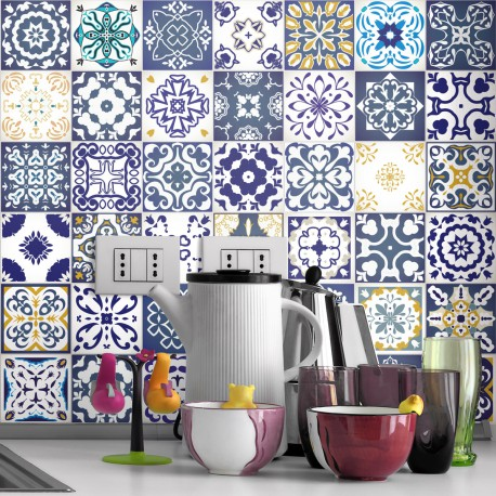 60 stickers carrelages azulejos Cyprus 10x10 cm