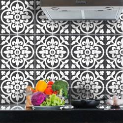 60 stickers carreaux de ciment classiques nuance de gris 10x10 cm