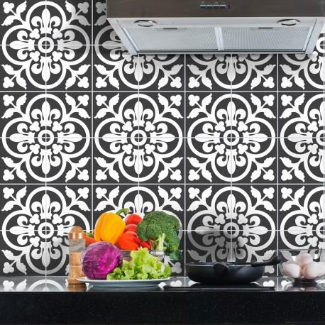 60 stickers carreaux de ciment classiques nuance de gris 10x10 cm pas cher stickers design. Black Bedroom Furniture Sets. Home Design Ideas