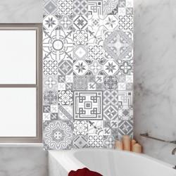 60 stickers carrelages azulejos design vintage nuance de gris-bleu 10x10 cm