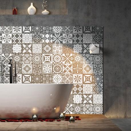 30 stickers carreaux de ciment nuances de gris varsovie 10x10 cm pas cher stickers design. Black Bedroom Furniture Sets. Home Design Ideas