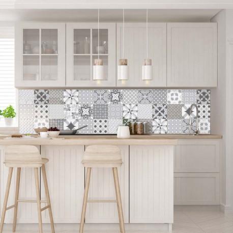 30 stickers carreaux de ciment nuance de gris romantique. Black Bedroom Furniture Sets. Home Design Ideas
