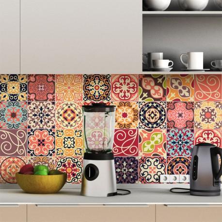 30 stickers carreaux de ciment la valette 10x10 cm pas cher stickers design discount. Black Bedroom Furniture Sets. Home Design Ideas
