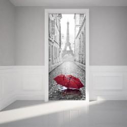 Sticker porte 204 x 83 cm - Ruelle et lampadaire