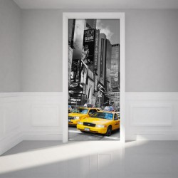 Sticker porte  - Taxi de New York   H204 x L83 cm