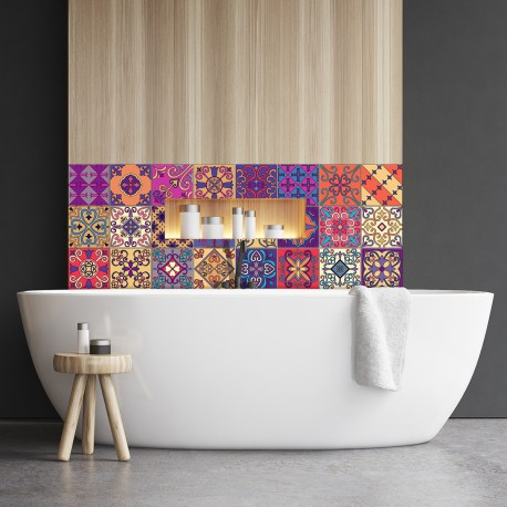 24 stickers carrelages azulejos duilo 10x10 cm pas cher stickers design discount stickers. Black Bedroom Furniture Sets. Home Design Ideas