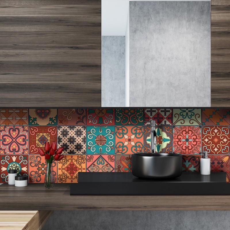 24 stickers carreaux de ciment azulejos giordano 10x10 cm pas cher stickers design discount. Black Bedroom Furniture Sets. Home Design Ideas