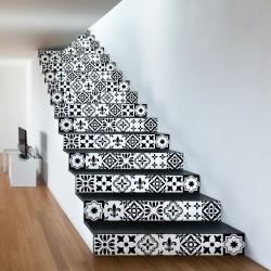 Stickers contremarche carreaux de ciment Damiano - 2 bandes de H15 x L105 cm