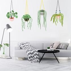 Sticker fleurs et plantes scandinaves suspendues -60x90cm