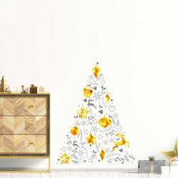 Sticker Noël sapin de noël doré et gris - 60x85cm