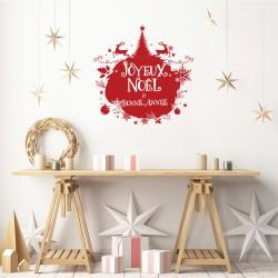 Sticker Noël boule de noël joyeux noël et bonne année - 60x60cm