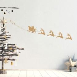 Sticker Noël traineau du père noël et les rennes - 50x105cm