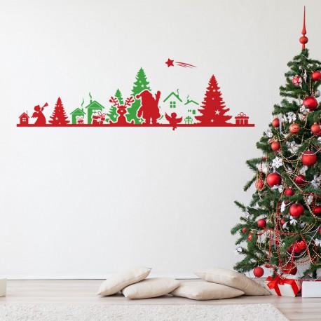 Sticker Noël frise de noël rouge et vert - 30x95cm