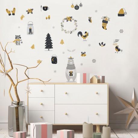 Sticker Noël animaux scandinave - 60x80cm