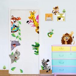 Sticker géant - Arbre, fleurs, giraffe et lion