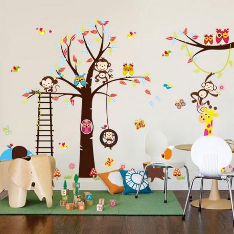 Sticker géant pour enfant - arbre, singe, giraffe et oiseaux