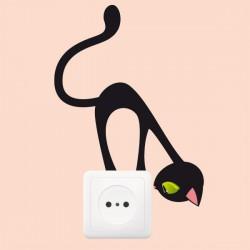 Sticker pour prise - chat curieux - H17 x L12 cm