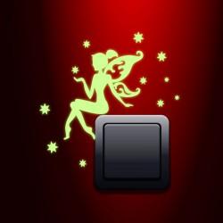 """Sticker phosphorescent pour la prise """" Fée et les étoiles"""" - H25 x L25 cm"""